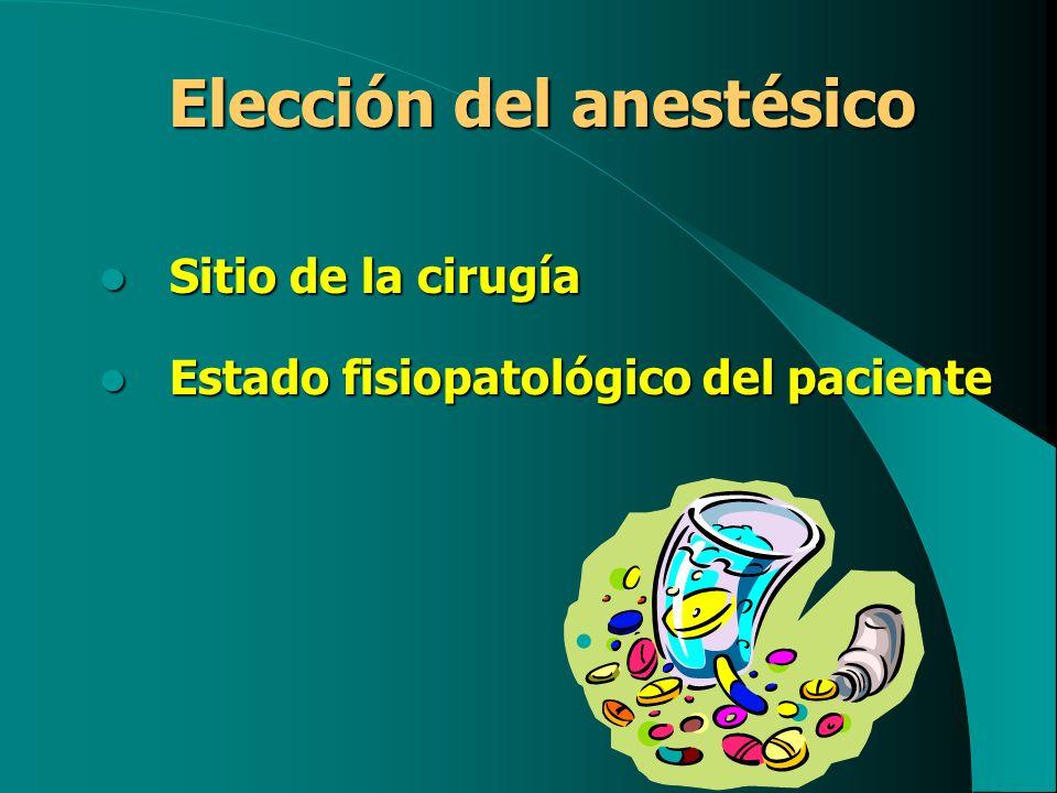 Elección del anestésico Sitio de la cirugía Sitio de la cirugía Estado fisiopatológico del paciente Estado fisiopatológico del paciente