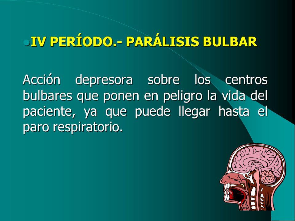 IV PERÍODO.- PARÁLISIS BULBAR IV PERÍODO.- PARÁLISIS BULBAR Acción depresora sobre los centros bulbares que ponen en peligro la vida del paciente, ya