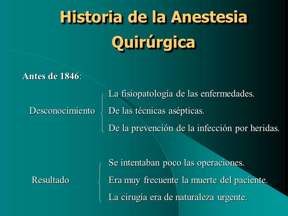 Historia de la Anestesia Quirúrgica Antes de 1846: La fisiopatología de las enfermedades. DesconocimientoDe las técnicas asépticas. DesconocimientoDe