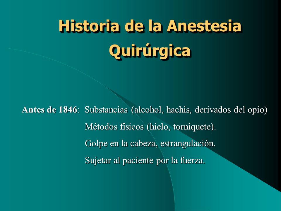 Historia de la Anestesia Quirúrgica Antes de 1846: Substancias (alcohol, hachis, derivados del opio) Métodos físicos (hielo, torniquete). Métodos físi