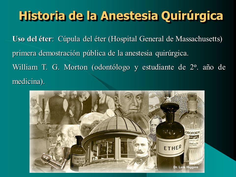 Historia de la Anestesia Quirúrgica Uso del éter: Cúpula del éter (Hospital General de Massachusetts) primera demostración pública de la anestesia qui