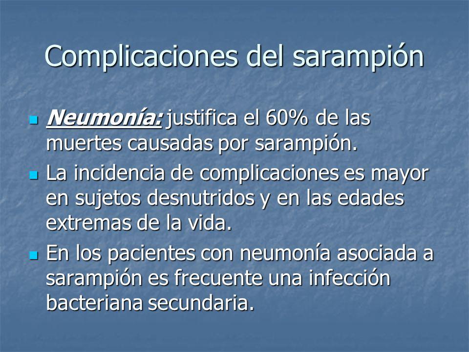 Complicaciones del sarampión Neumonía: justifica el 60% de las muertes causadas por sarampión. Neumonía: justifica el 60% de las muertes causadas por