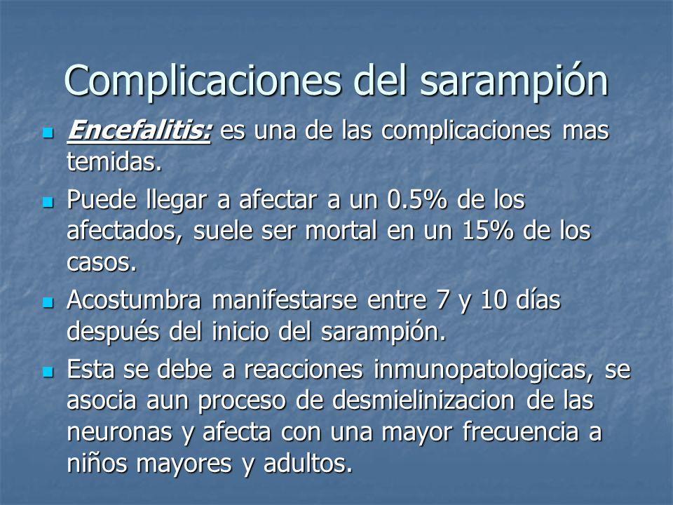 Complicaciones del sarampión Encefalitis: es una de las complicaciones mas temidas. Encefalitis: es una de las complicaciones mas temidas. Puede llega