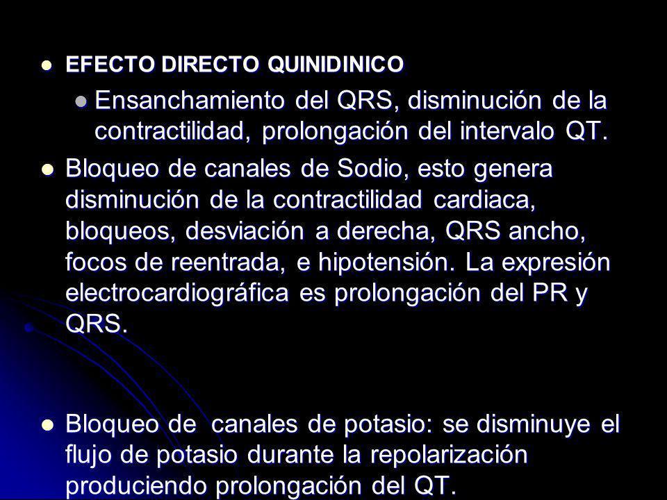 EFECTO DIRECTO QUINIDINICO EFECTO DIRECTO QUINIDINICO Ensanchamiento del QRS, disminución de la contractilidad, prolongación del intervalo QT. Ensanch