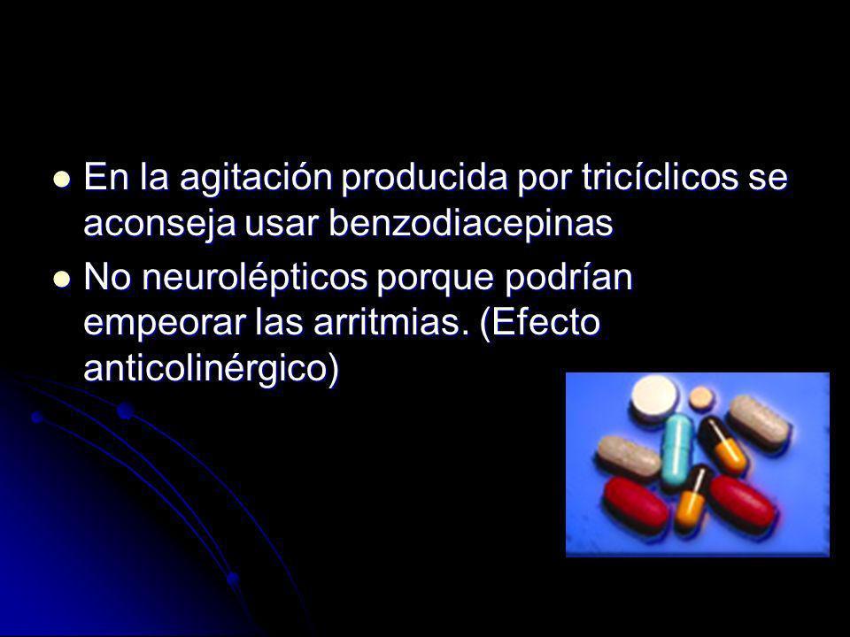 Convulsiones Convulsiones Diazepam Diazepam Clonazepam Clonazepam Fenobarbital Fenobarbital No fenitoína porque aumenta la cardiotoxicidad No fenitoína porque aumenta la cardiotoxicidad Antiarrítmicos Antiarrítmicos Tipo lidocaína o bretilio Tipo lidocaína o bretilio