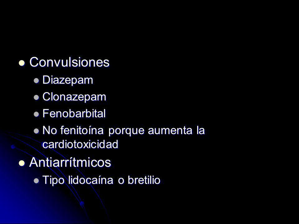 Contraindicaciones Glucósidos de acción en corazón Glucósidos de acción en corazón Antiarrítmicos de tipo 1, quinidina procainamida, disopiramida Antiarrítmicos de tipo 1, quinidina procainamida, disopiramida Fisiostigmina puede agravar la depresión de la conducción cardiaca y causar crisis convulsivas Fisiostigmina puede agravar la depresión de la conducción cardiaca y causar crisis convulsivas Los beta bloqueadores y verapamilo pueden ser peligrosos.
