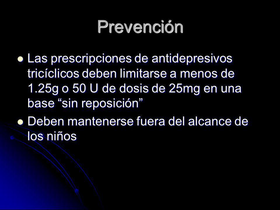 Prevención Las prescripciones de antidepresivos tricíclicos deben limitarse a menos de 1.25g o 50 U de dosis de 25mg en una base sin reposición Las pr