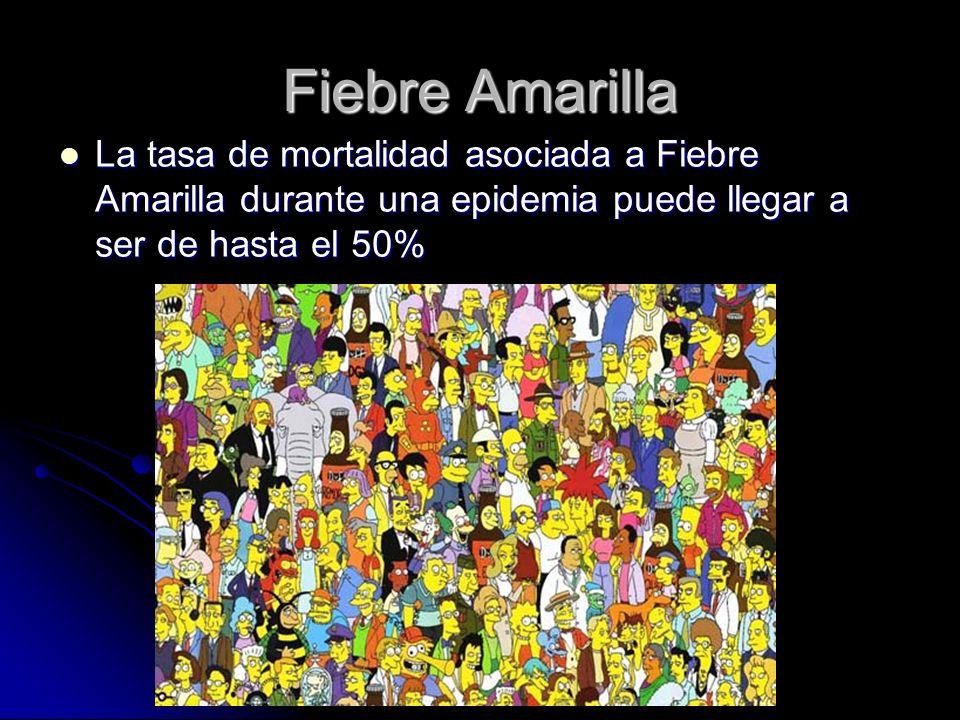Fiebre Amarilla La tasa de mortalidad asociada a Fiebre Amarilla durante una epidemia puede llegar a ser de hasta el 50% La tasa de mortalidad asociad