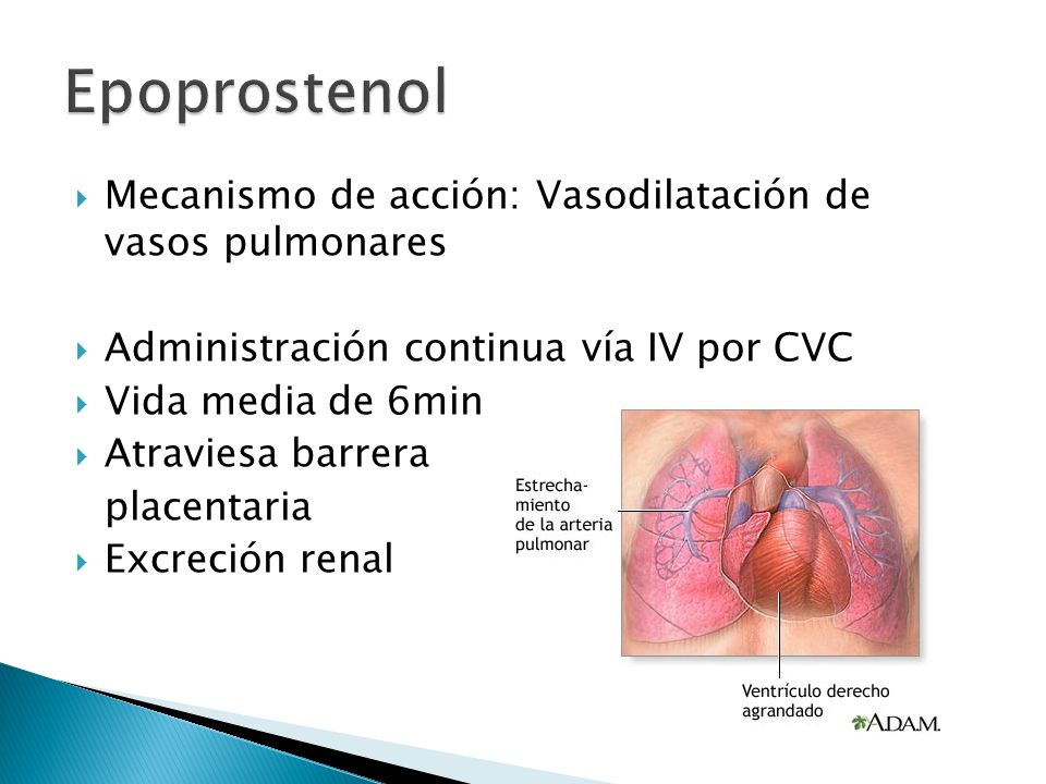 Mecanismo de acción: Vasodilatación de vasos pulmonares Administración continua vía IV por CVC Vida media de 6min Atraviesa barrera placentaria Excrec