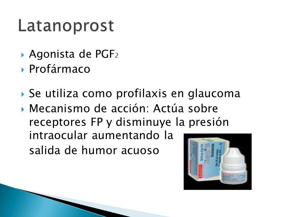 Agonista de PGF 2 Profármaco Se utiliza como profilaxis en glaucoma Mecanismo de acción: Actúa sobre receptores FP y disminuye la presión intraocular