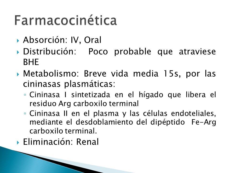 Absorción: IV, Oral Distribución: Poco probable que atraviese BHE Metabolismo: Breve vida media 15s, por las cininasas plasmáticas: Cininasa I sinteti