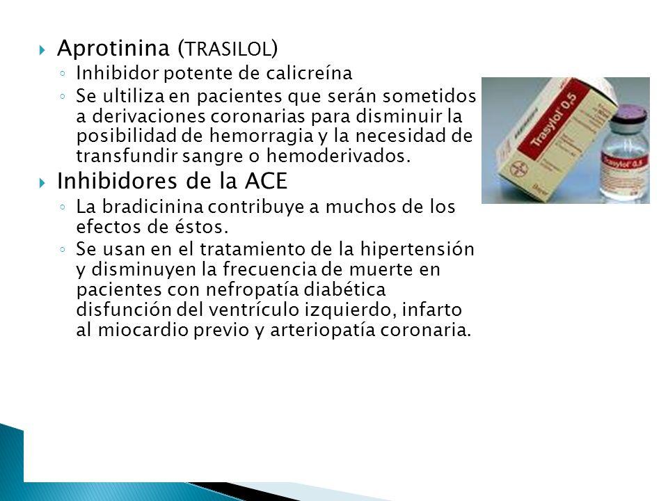 Aprotinina ( TRASILOL ) Inhibidor potente de calicreína Se ultiliza en pacientes que serán sometidos a derivaciones coronarias para disminuir la posib