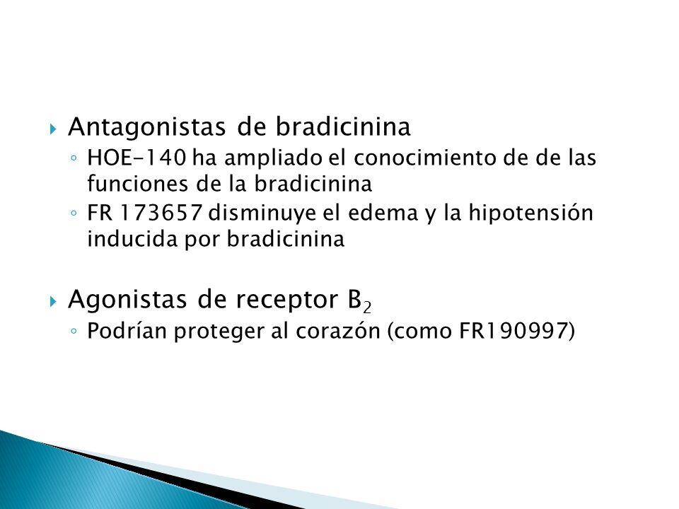Antagonistas de bradicinina HOE-140 ha ampliado el conocimiento de de las funciones de la bradicinina FR 173657 disminuye el edema y la hipotensión in