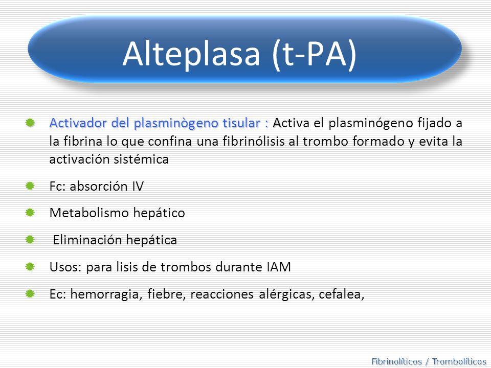 Fibrinolíticos / Trombolíticos Alteplasa (t-PA) Activador del plasminògeno tisular : A Activador del plasminògeno tisular : Activa el plasminógeno fijado a la fibrina lo que confina una fibrinólisis al trombo formado y evita la activación sistémica Fc: absorción IV Metabolismo hepático Eliminación hepática Usos: para lisis de trombos durante IAM Ec: hemorragia, fiebre, reacciones alérgicas, cefalea,
