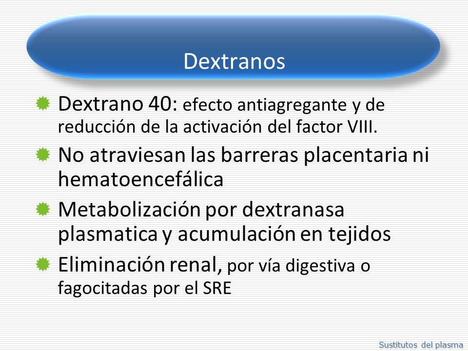 Sustitutos del plasma Dextranos Dextrano 40: efecto antiagregante y de reducción de la activación del factor VIII. No atraviesan las barreras placenta