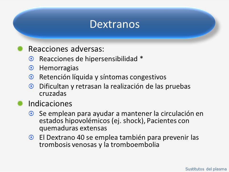 Sustitutos del plasma Dextranos Reacciones adversas: Reacciones de hipersensibilidad * Hemorragias Retención líquida y síntomas congestivos Dificultan y retrasan la realización de las pruebas cruzadas Indicaciones Se emplean para ayudar a mantener la circulación en estados hipovolémicos (ej.