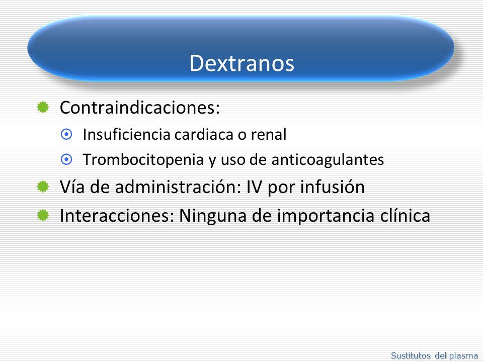 Sustitutos del plasma Dextranos Contraindicaciones: Insuficiencia cardiaca o renal Trombocitopenia y uso de anticoagulantes Vía de administración: IV por infusión Interacciones: Ninguna de importancia clínica