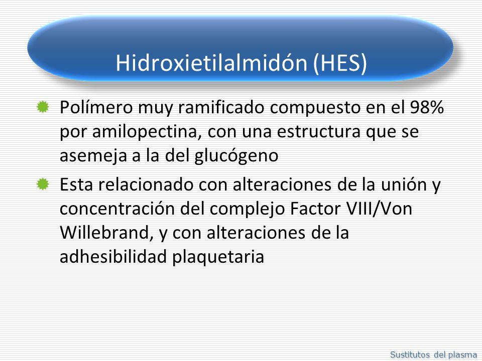 Sustitutos del plasma Hidroxietilalmidón (HES) Polímero muy ramificado compuesto en el 98% por amilopectina, con una estructura que se asemeja a la del glucógeno Esta relacionado con alteraciones de la unión y concentración del complejo Factor VIII/Von Willebrand, y con alteraciones de la adhesibilidad plaquetaria