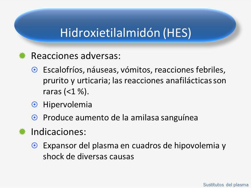 Sustitutos del plasma Hidroxietilalmidón (HES) Reacciones adversas: Escalofríos, náuseas, vómitos, reacciones febriles, prurito y urticaria; las reacc