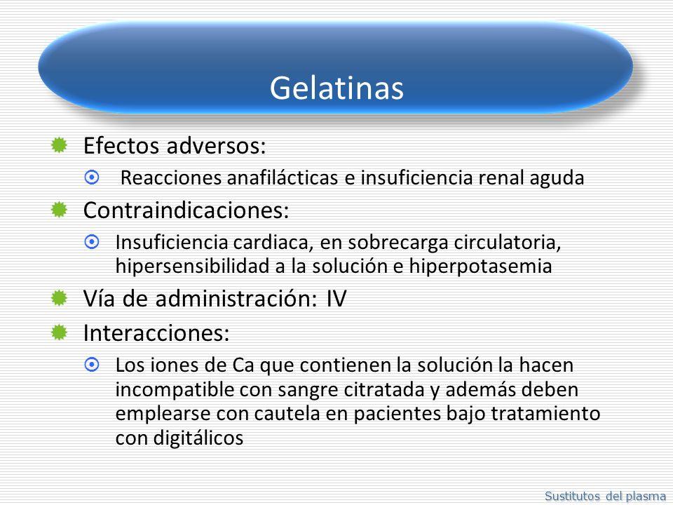 Sustitutos del plasma Gelatinas Efectos adversos: Reacciones anafilácticas e insuficiencia renal aguda Contraindicaciones: Insuficiencia cardiaca, en