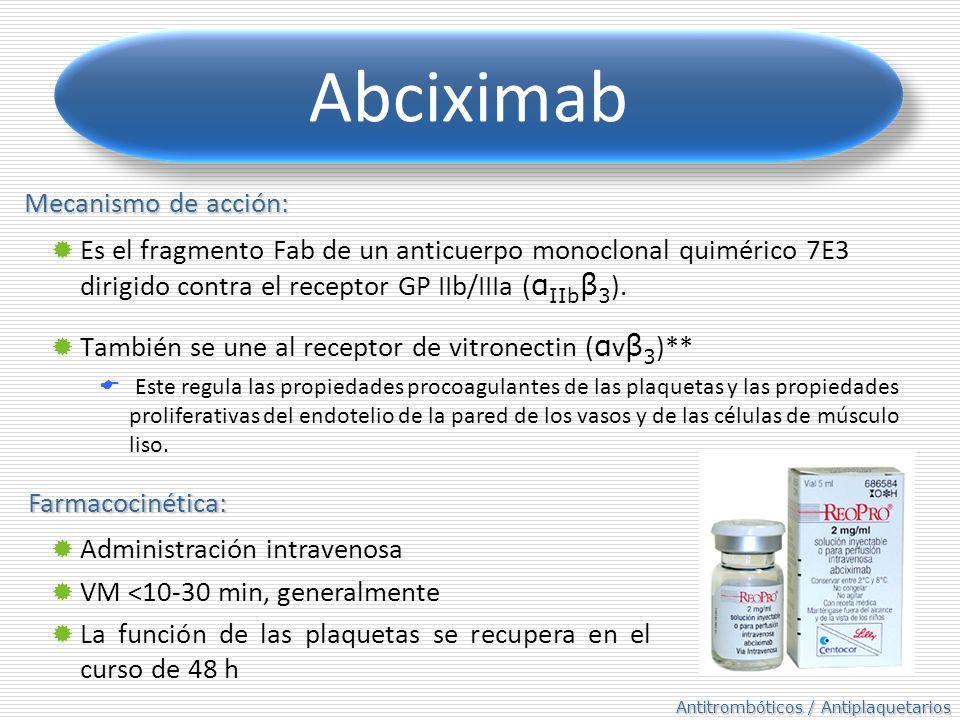 Antitrombóticos / Antiplaquetarios Abciximab Es el fragmento Fab de un anticuerpo monoclonal quimérico 7E3 dirigido contra el receptor GP IIb/IIIa ( α