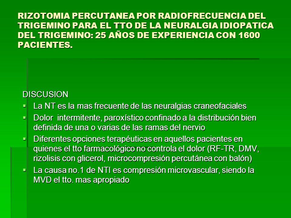 DISCUSION La NT es la mas frecuente de las neuralgias craneofaciales La NT es la mas frecuente de las neuralgias craneofaciales Dolor intermitente, pa
