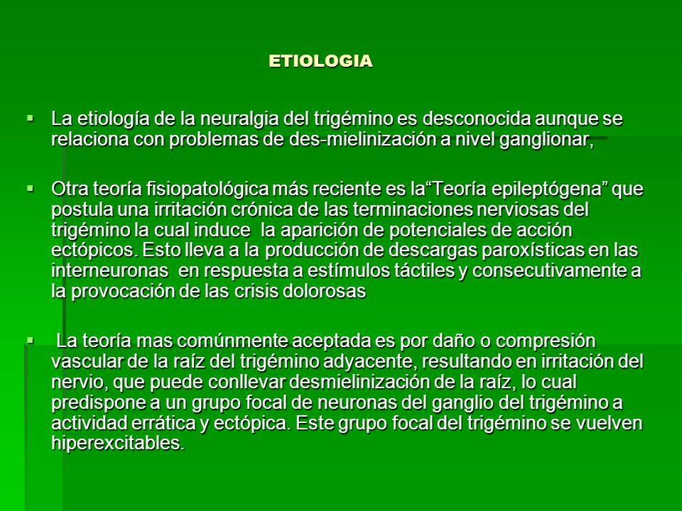 ETIOLOGIA ETIOLOGIA La etiología de la neuralgia del trigémino es desconocida aunque se relaciona con problemas de des-mielinización a nivel gangliona