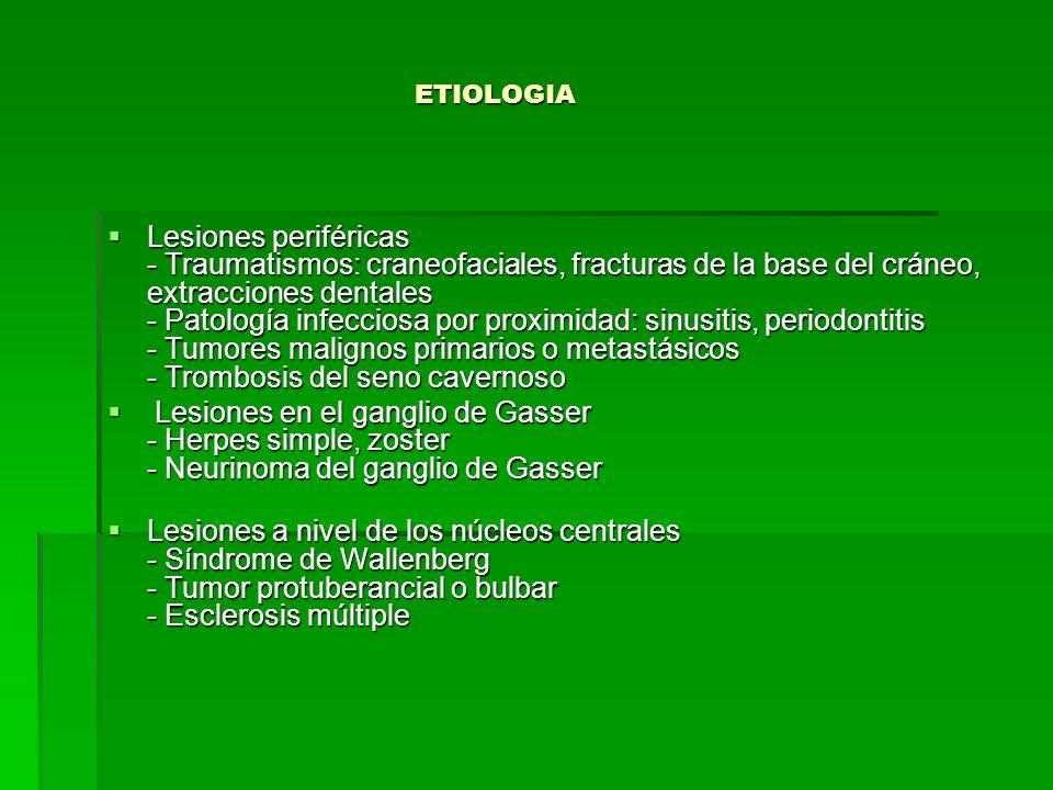 Lesiones periféricas - Traumatismos: craneofaciales, fracturas de la base del cráneo, extracciones dentales - Patología infecciosa por proximidad: sin
