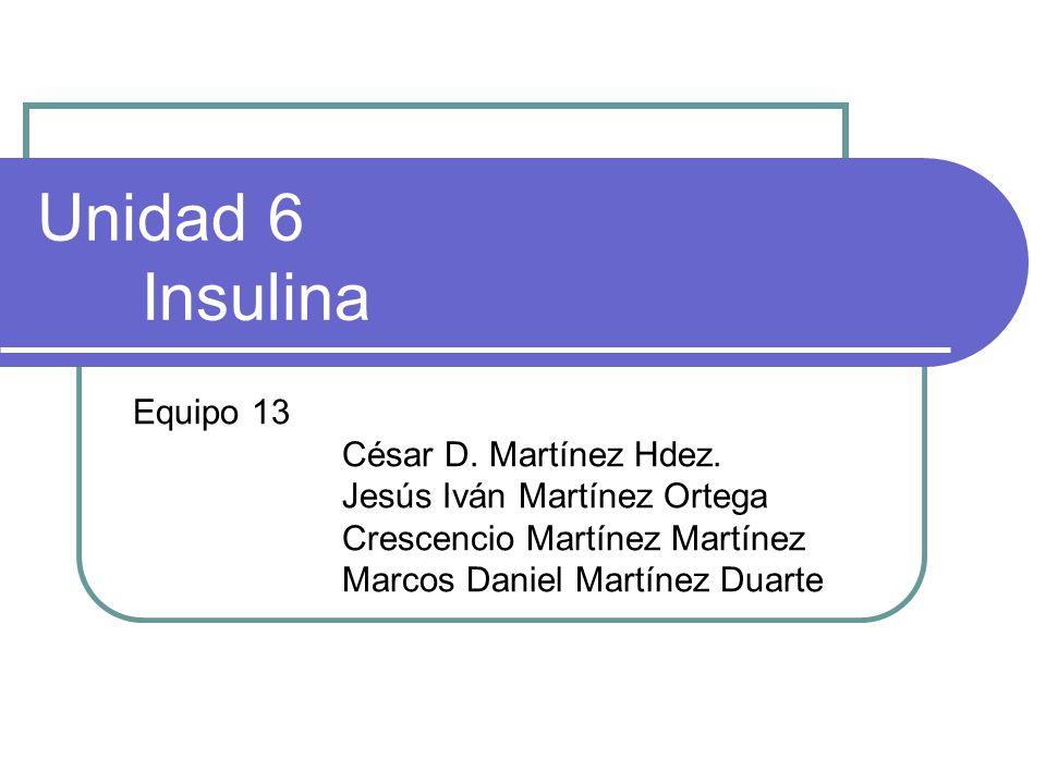Unidad 6 Insulina Equipo 13 César D. Martínez Hdez. Jesús Iván Martínez Ortega Crescencio Martínez Martínez Marcos Daniel Martínez Duarte