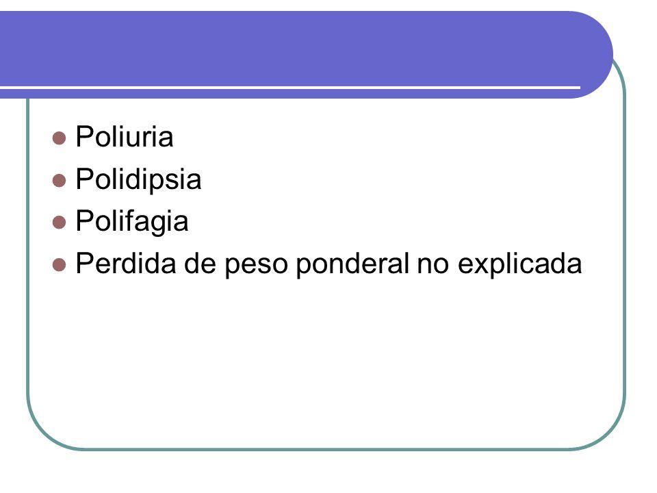 Poliuria Polidipsia Polifagia Perdida de peso ponderal no explicada