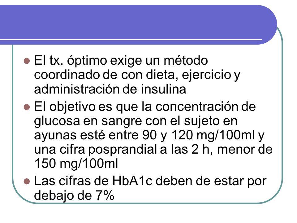 El tx. óptimo exige un método coordinado de con dieta, ejercicio y administración de insulina El objetivo es que la concentración de glucosa en sangre