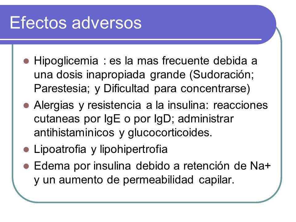 Efectos adversos Hipoglicemia : es la mas frecuente debida a una dosis inapropiada grande (Sudoración; Parestesia; y Dificultad para concentrarse) Ale