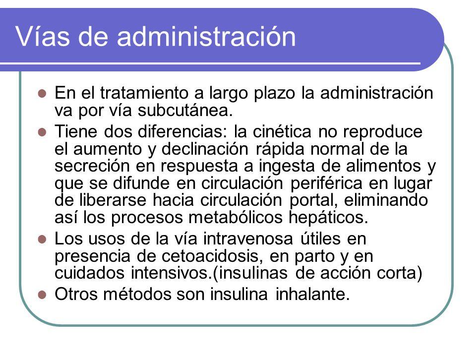 Vías de administración En el tratamiento a largo plazo la administración va por vía subcutánea. Tiene dos diferencias: la cinética no reproduce el aum