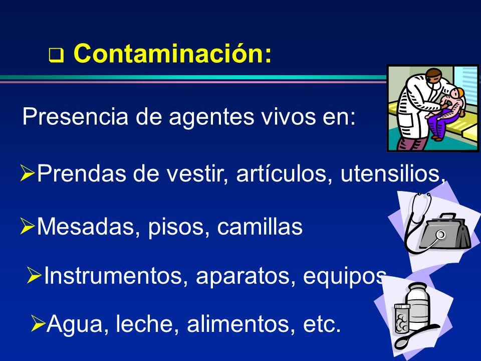 Instrumentos, aparatos, equipos Contaminación: Presencia de agentes vivos en: Prendas de vestir, artículos, utensilios, Mesadas, pisos, camillas Agua,
