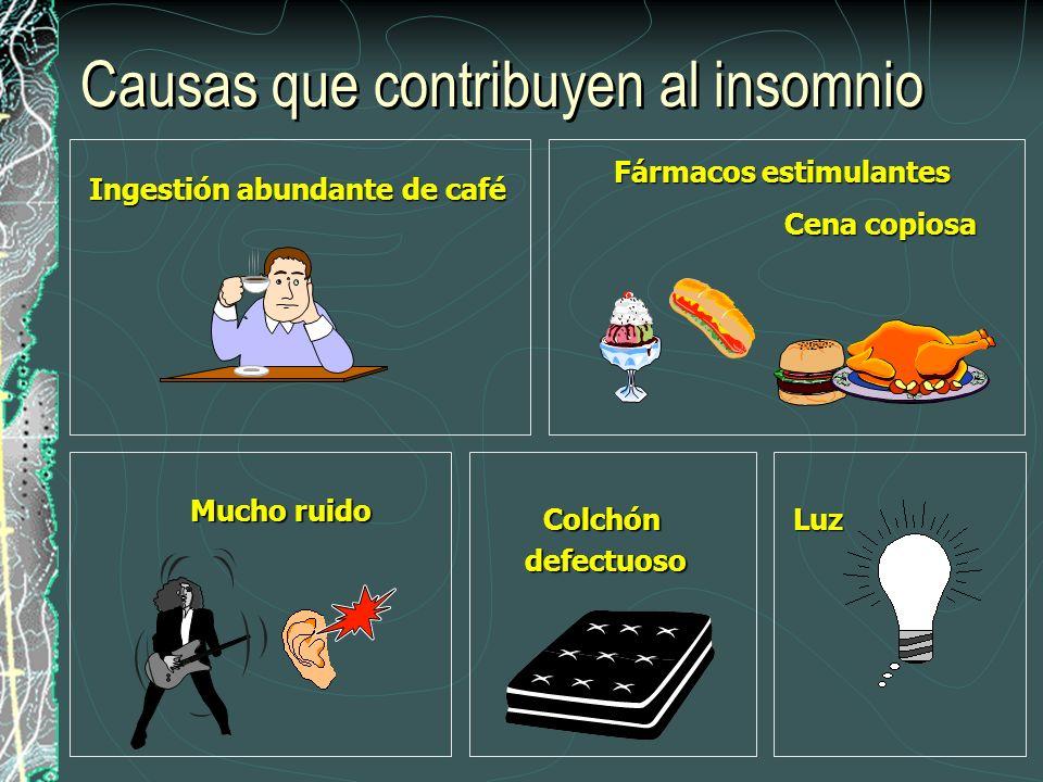 Causas que contribuyen al insomnio Fármacos estimulantes Ingestión abundante de café Cena copiosa Colchóndefectuoso Mucho ruido Luz