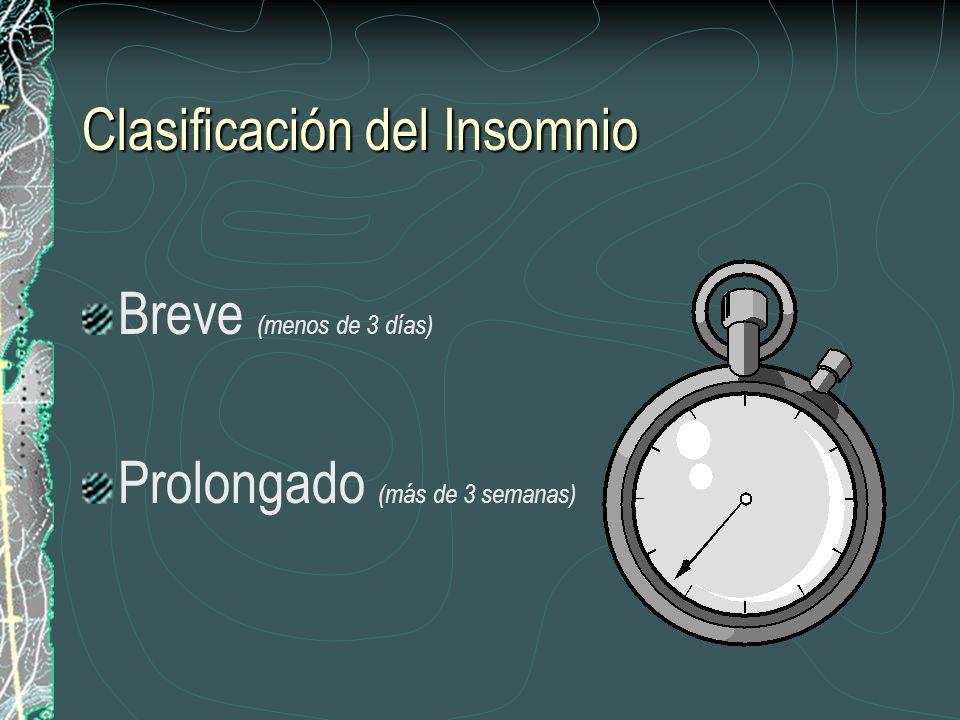 Clasificación del Insomnio Breve (menos de 3 días) Prolongado (más de 3 semanas)