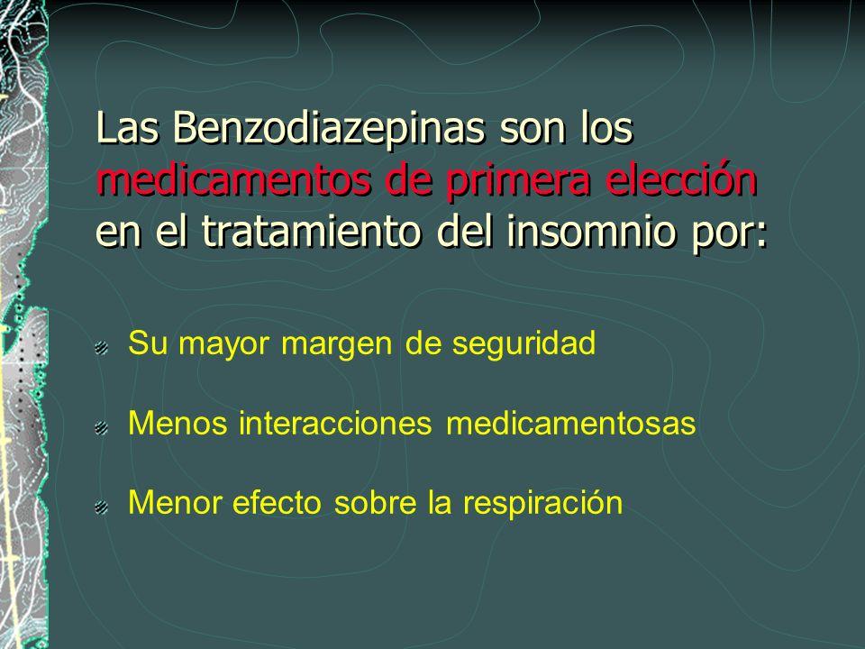 Las Benzodiazepinas son los medicamentos de primera elección en el tratamiento del insomnio por: Su mayor margen de seguridad Menos interacciones medi
