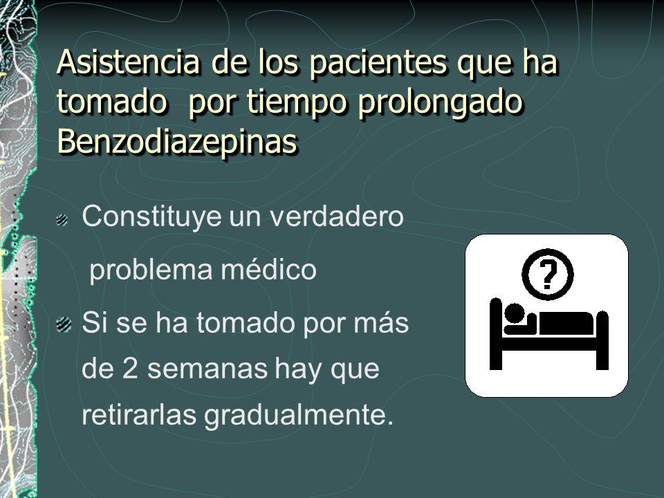 Asistencia de los pacientes que ha tomado por tiempo prolongado Benzodiazepinas Constituye un verdadero problema médico Si se ha tomado por más de 2 s