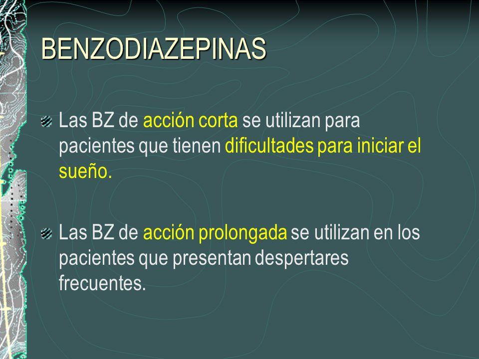BENZODIAZEPINAS Las BZ de acción corta se utilizan para pacientes que tienen dificultades para iniciar el sueño. Las BZ de acción prolongada se utiliz
