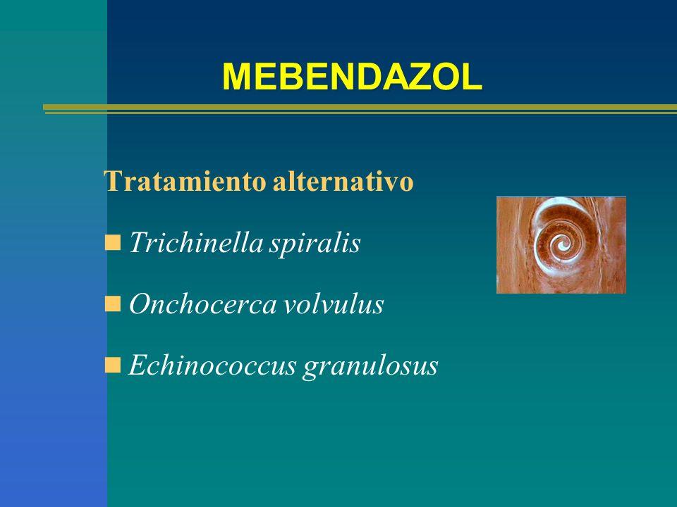 MEBENDAZOL Tratamiento alternativo Trichinella spiralis Onchocerca volvulus Echinococcus granulosus