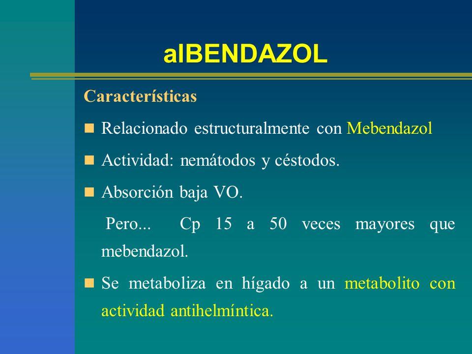 alBENDAZOL Características Relacionado estructuralmente con Mebendazol Actividad: nemátodos y céstodos. Absorción baja VO. Pero... Cp 15 a 50 veces ma