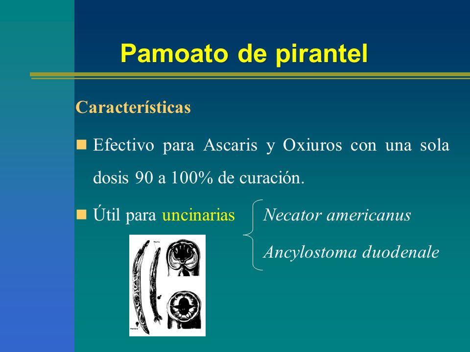 Pamoato de pirantel Características Efectivo para Ascaris y Oxiuros con una sola dosis 90 a 100% de curación. Útil para uncinarias Necator americanus