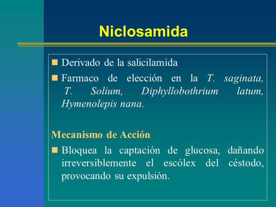Niclosamida Derivado de la salicilamida Farmaco de elección en la T. saginata, T. Solium, Diphyllobothrium latum, Hymenolepis nana. Mecanismo de Acció
