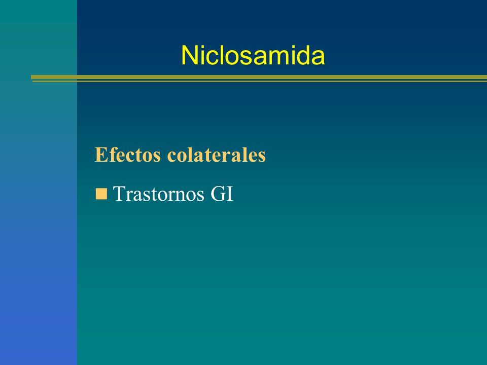 Niclosamida Efectos colaterales Trastornos GI