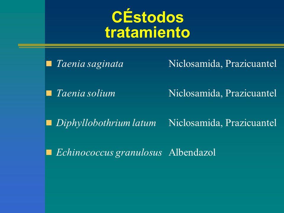 CÉstodos tratamiento Taenia saginata Taenia solium Diphyllobothrium latum Echinococcus granulosus Niclosamida, Prazicuantel Albendazol
