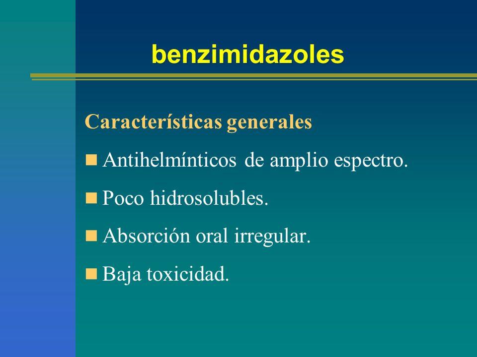 Benzimidazoles Mecanismo de acción Se fijan a la tubulina, impidiendo la polimerización de los microtúbulos provocando su ruptura, parálisis y muerte del parásito.