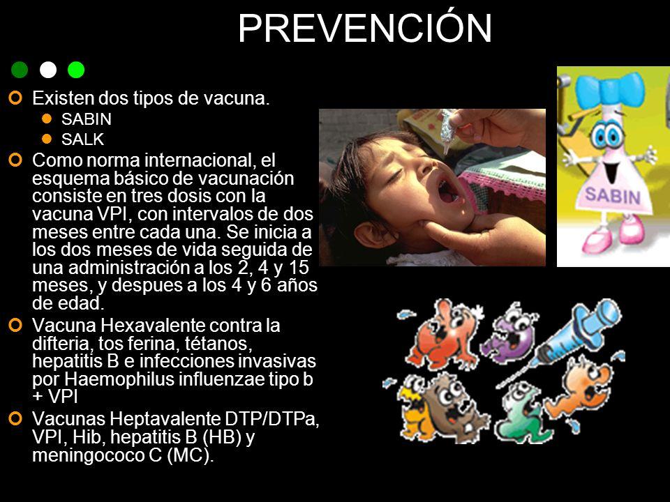 PREVENCIÓN Existen dos tipos de vacuna. SABIN SALK Como norma internacional, el esquema básico de vacunación consiste en tres dosis con la vacuna VPI,