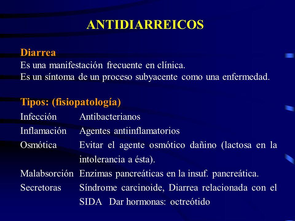 ANTIDIARREICOS Diarrea Es una manifestación frecuente en clínica. Es un síntoma de un proceso subyacente como una enfermedad. Tipos: (fisiopatología)