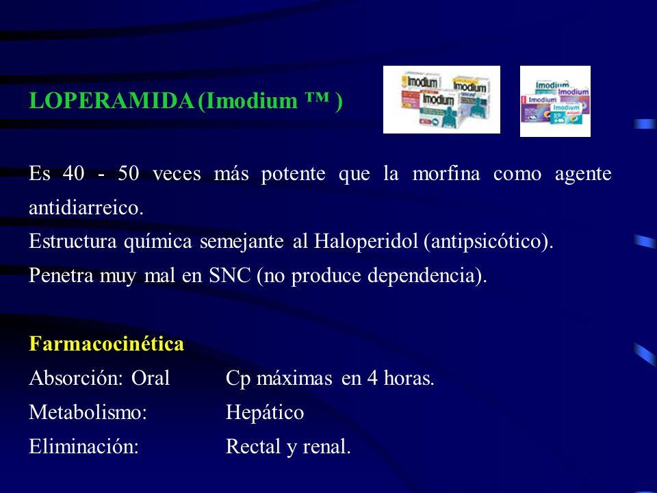 LOPERAMIDA (Imodium ) Es 40 - 50 veces más potente que la morfina como agente antidiarreico. Estructura química semejante al Haloperidol (antipsicótic