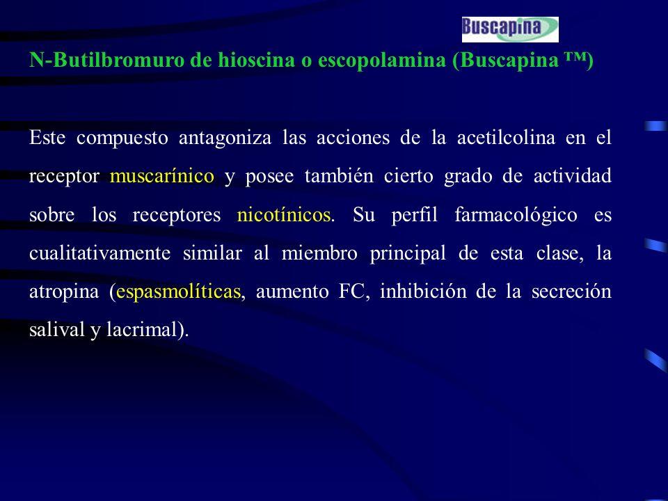 N-Butilbromuro de hioscina o escopolamina (Buscapina ) Este compuesto antagoniza las acciones de la acetilcolina en el receptor muscarínico y posee ta